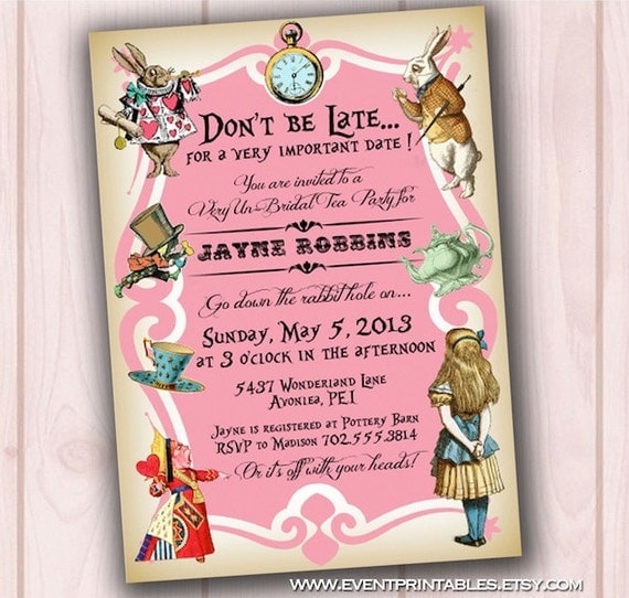 Alice in Wonderland Tea Party Bridal Shower Invitation, DIY Printable ...