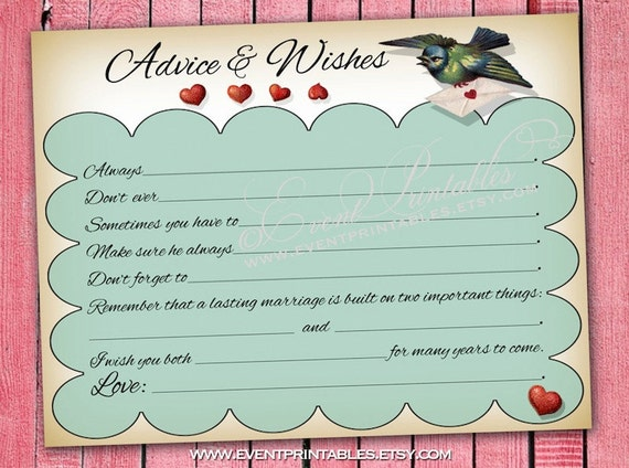 wedding advice mad libs vintage lovebird wish by eventprintables