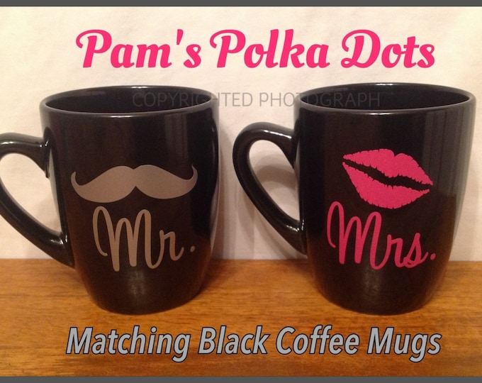 Matching Set of MR. & MRS. Black Coffee MUGS Cups with Mustache for Him Lip Kiss for Her Great Valentine's Day Wedding Anniversary Gift