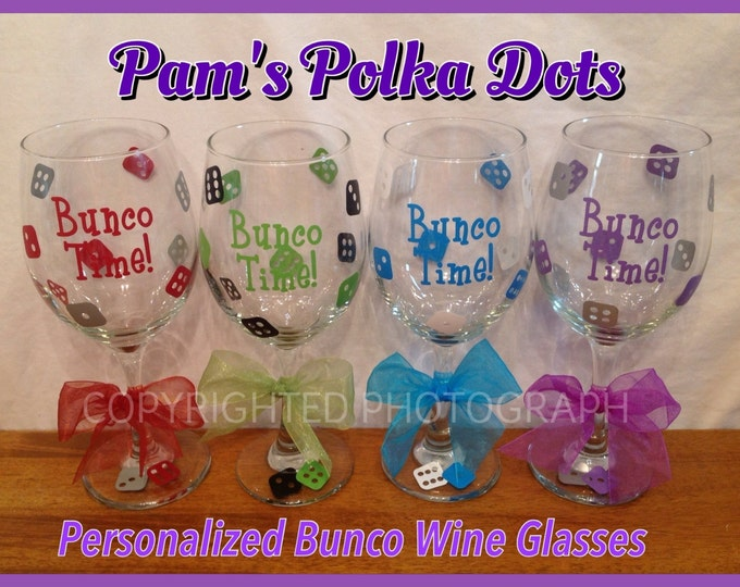 4 Personalized Large 20 oz. BUNCO WINE GLASSES with Dice, Name, Word or Initial Bunco Prize for Bunco Players