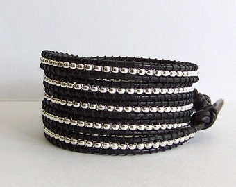 Five Layered Black and Silver Bracelet Wrap, Rocker Chic