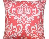 Coral Throw Pillows, Ozborne Damask Pillow Cover, Home Decor Fabric, Zippered Pillow, Bed Pillows, Damask Decor, Decorative Pillows, Wedding