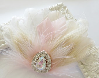 Bride Bridesmaid Feather Hair Accessory, Feather Fascinator, Bridal, Hair PIece, Peacock, Ivory, Blush, White, Feather, Hair Clip