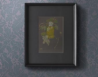 A Bunch Of Green Grapes On A Vine - Painting on paper and silk Original artwork Fruit art Kitchen Decor Still Life - mixed media art - OOAK
