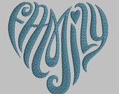 family text heart machine embroidery design Instant Download