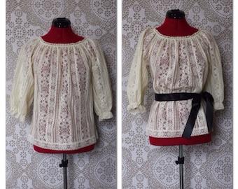 Vintage 1970's Cream Lace Peasant Blouse Medium