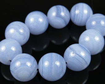 Premium Quality Blue Lace Agate Round Bead - 12mm - 10 Pieces - A6845