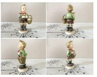 Goebel Hummel Figurine Village Boy Full Bee TMK 2 Mark Vintage Hummel Collectible Hummel 1950s Hummel  Hummel Boy with Basket 51/0