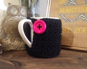 Black Textured Mug Cozy with Hotpink Button-Ready To Ship!