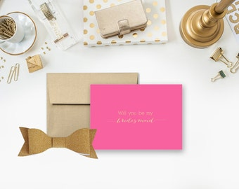 Will you be my bridesmaid - Gold Foil Notecard - Set of 10
