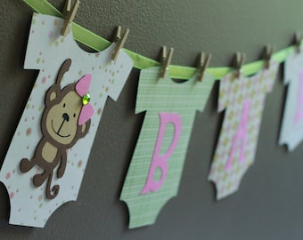 Monkey Baby Shower Banner Monkey Baby Boy Banner Monkey Baby