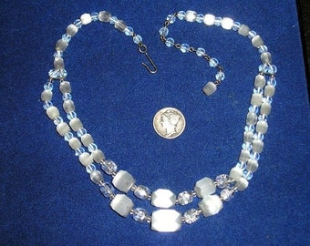 Vintage  2 Strand Necklace White   Frosted Glass 1960's Jewelry 77