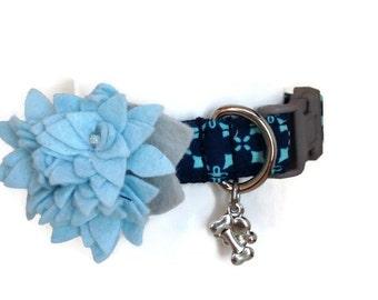 V.I.P. Blue Lily Dog Collar