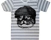 Mens Cat T Shirt - Heather Grey White Stripe Tee - American Apparel - S M L Xl Xxl