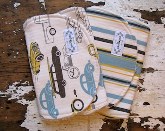 Burp Cloths Boy - Vintage Cars / Trucks & Stripe in Brown, Yellow, Blue - Set of 2 - Baby