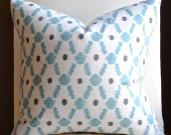 Designer Pillow Cover -18x18-Konya-Ikat Pillow-Pond- BOTH SIDES-Tourquise Pillow-