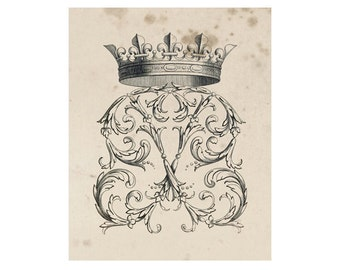 Crest of French Nobility 11, Peerage Insignia Emblems - 8x10 Digital Files to Download Print, Similar to Restoration Hardware, 16 available