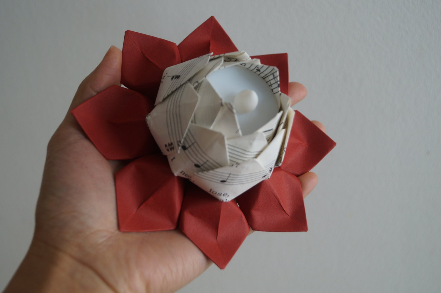 Lotus tea light holder-Origami water lily-LED by Meiorigami - photo#24