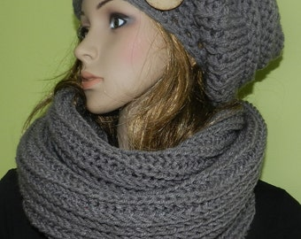 Chunky Set -  Handknit Women/Teen Slouchy Hat and Tube Scraf Set  - Slouchy Hat with Eco Button and Soft Tube Scarf in Gray