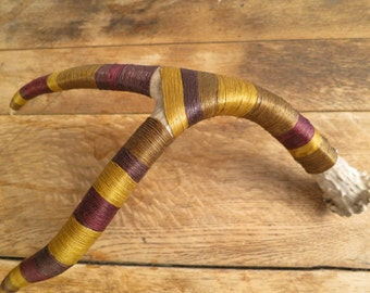 Antler wrapped with embroidery thread: Olive/Mustard/Maroon