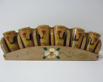 Wood Spice Rack with 6 Spice Jars, Rooster Motif,  Cork Stoppers, Made in Japan, Hand Painted,  Wall Hanging Spice Rack
