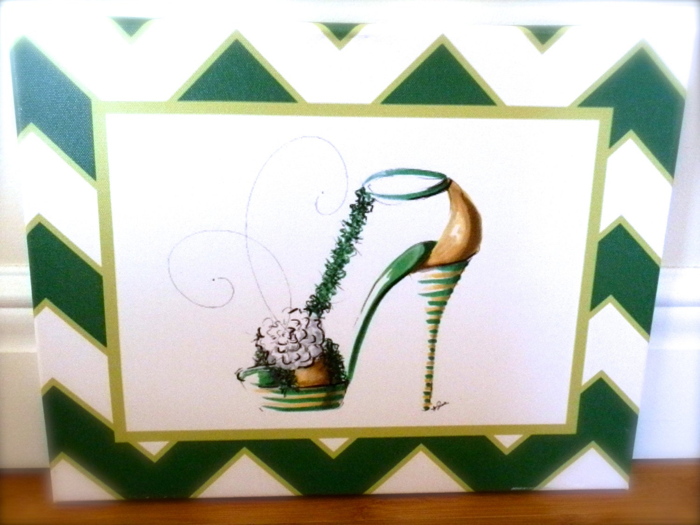 kappa delta shoe chevron canvas print