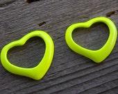 Enamel Heart Charms, Open Heart, Yellow, 39mm, 4pcs