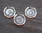 26 Silver Alphabet Charms 18mm 1 Set of Antiqued Silver Letter Charms