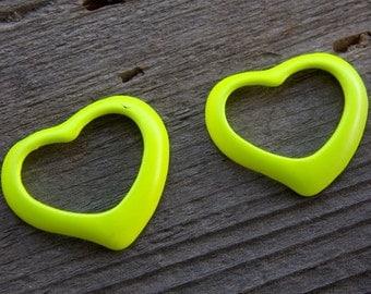 4 Yellow Enamel Heart Charms 39mm Open Heart Pendant