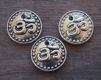 10 Silver Om Charms 15mm Round  Antiqued Silver