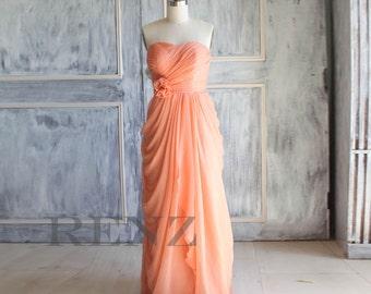 2016 Tangerine Coral Wedding dress, Chiffon party dress, Bridesmaid dress, Strapless formal dress, Rosette Prom dress , Pleated dress (A016)