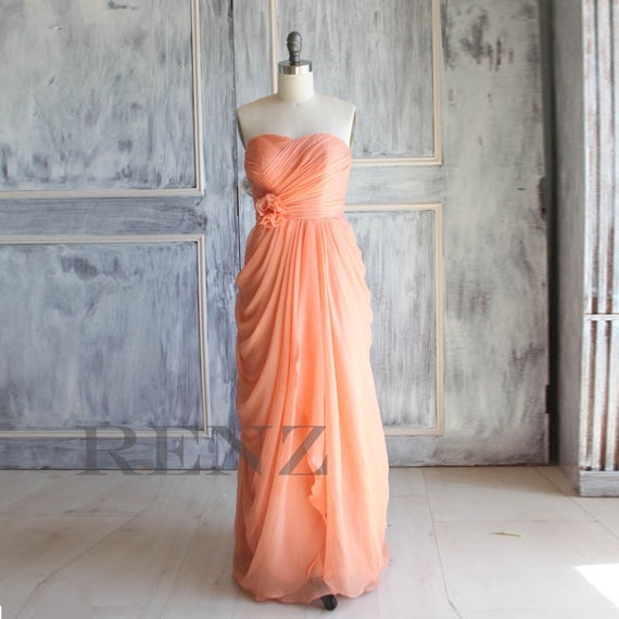 Peach Wedding dress , chiffon party dress,bright peach bridesmaid dress, strapless formal dress  (A016)