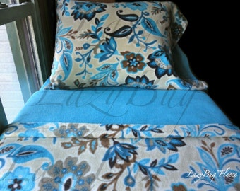 Girls Bed Sheets Toddler Fleece Bedding Set 'Beige Flowers' Handmade Fits Crib and Toddler Beds