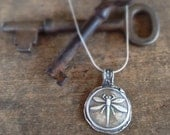 Dragonfly Necklace Antique Wax Seal, Dragonfly Pendant Gift for Her, Silver Dragonfly Insect Jewelry Statement Necklace Rustic Jewelry