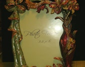 "Photo Frame, Rhinestone and Enamel Ornate Design, holds 3.5"" x 5"", Frame is 7.5"" x 7"""