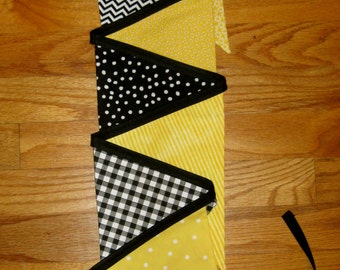 Yellow and Black Fabric Bunting Banner - Bumble Bee Baby Shower - Birthday Party - Room Decor - Wedding Shower - Nursery - 9 Large Flags