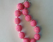 Solid Chunky Hot Pink rhinestone bead Necklace baby/toddler/child chunky necklace