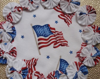 USA Flag Print Yo Yo doily-penny rug style candle mat, home decor gift