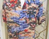 Vintage 1980s Hawaiian Aloha Shirt Guitars Planes Flying Fish Large
