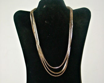 Gold Tone Necklace, Made in West Germany Necklace, Three Strand Necklace, Accessories, Women