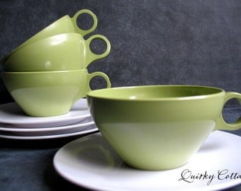 Melmac Cups - Green Melamine - Green Cups Saucers - Apollo Ware - Alexander Banna