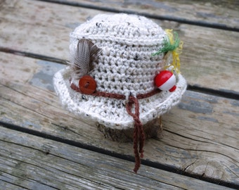 Crochet Baby Fishing Hat - Handmade Fishing Hat  - Fishermans Hat Photo Prop - Crochet Baby Boy Hat