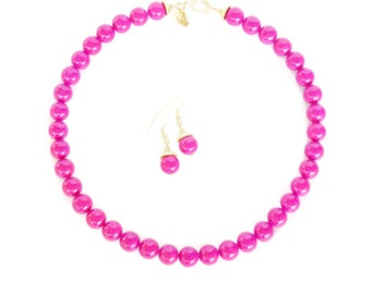 Hot Pink Bridal Necklace - Hot Pink Graduated Riverstone Necklace - Hot Pink Bridesmaid Necklace - Hot Pink Jewelry