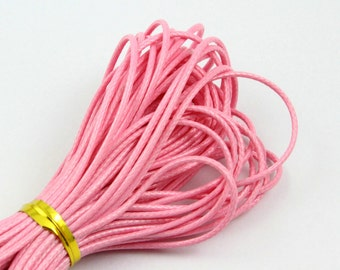 10 Yards 1mm Pink Wax Cord Korea Polyester Cord Poly Bracelet Thread Cord (LAXIAN5)