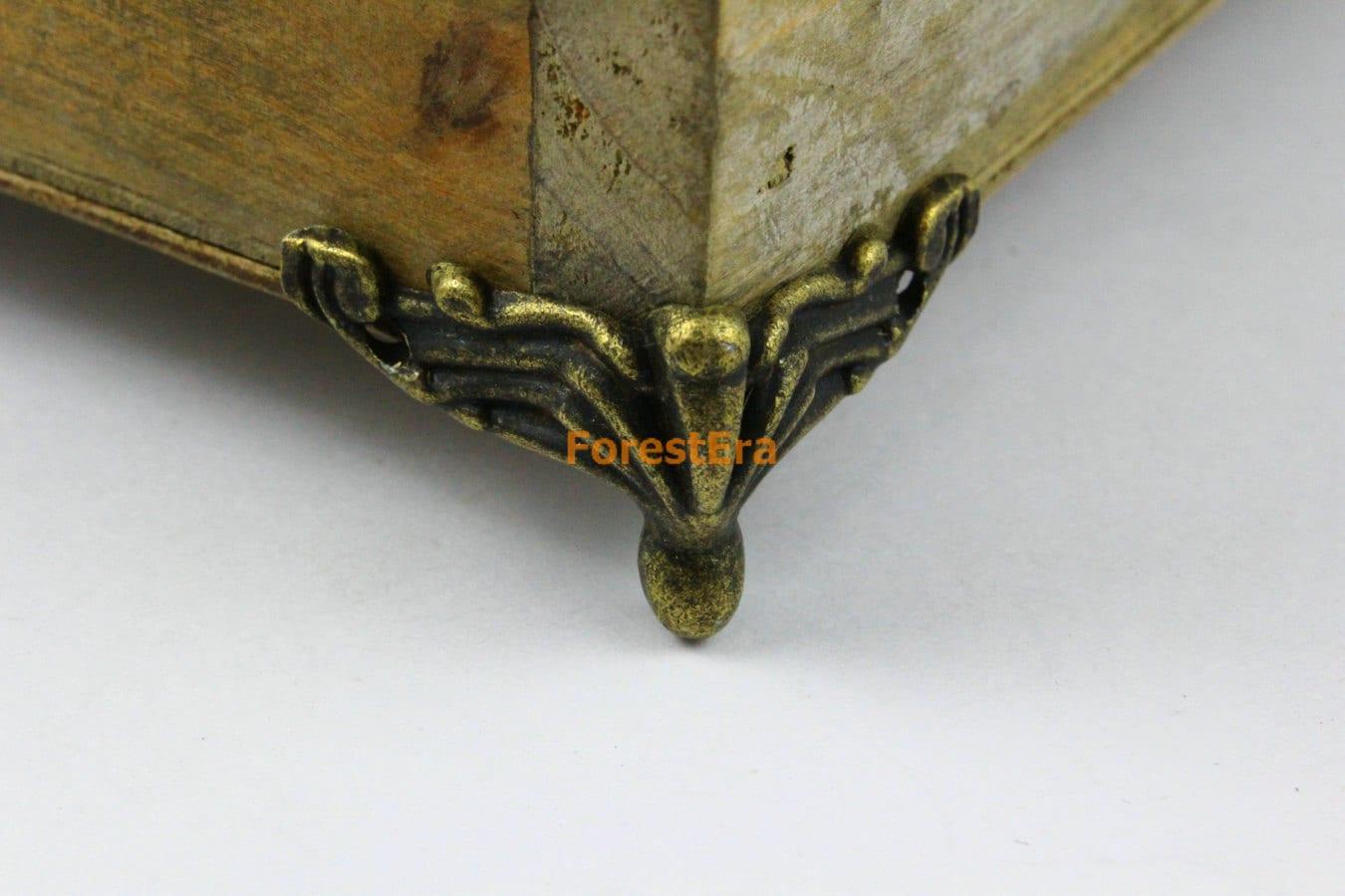 4pcs antique brass jewelry box feet animal box leg 37x20mm