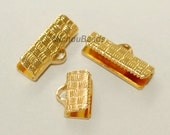 100 Textured GOLD 19x6mm Ribbon CRIMPS - 19mm Rectangle End Clamp Gold Plated Brass Crimps for Leather and Cord - USA Wholesale - 5414