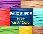 3mm Flat Micro Fiber Faux Suede Leather Ribbon Cord - 3x1.5mm Faux Suede Jewelry Cord By the Yard - Pick COLOR / LENGTH - Instant Ship