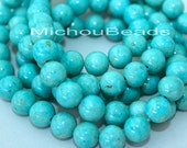 """16"""" Strand - 8mm AQUA Turquoise Natural RIVERSTONE - Round Opaque Natural River Stone Gemstone Bead - Instant Ship - USA Seller - 4446"""