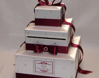 White and Deep Red( Crimson) Elegant Custom made Wedding Card Box-any colors-rhinestone accents