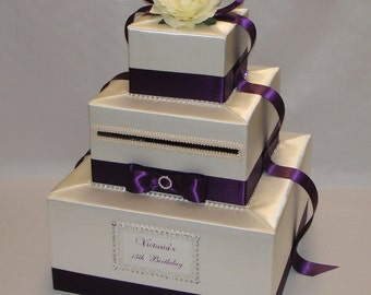 Elegant Custom made Wedding Card Box-Ivory and Eggplant colors- any colors